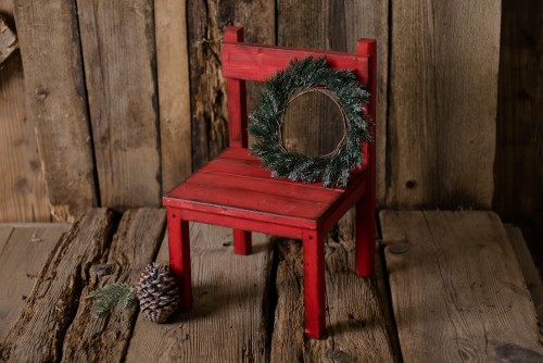 SMALL RUSTIC CHAIR - RED