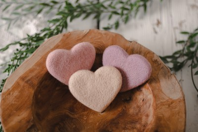 FELTED HEARTS SET - PINK TONES